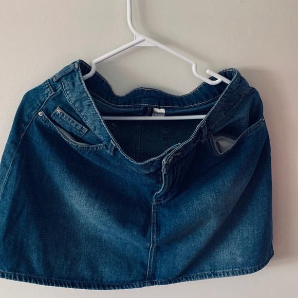 Blue denim used mini skirt